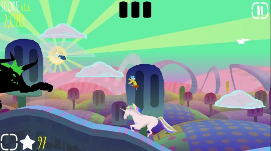 Jump on the magical unicorn to briefly escape a horrible death by trampling!